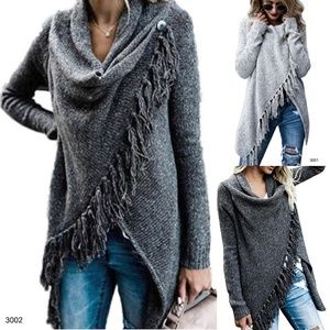 *LIMITED* Gray Fringe Wrap Sweater Shrug Cardigan